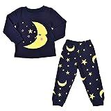 K-youth Ropa Bebe Niño Otoño Invierno Ofertas Luna Estrellas Infantil Bebé Niña Camisa de Pijama de Manga Larga para niño Camisetas Blusas + Pantalones Largos Conjuntos De Ropa(Azul Oscuro, 3-4 años)