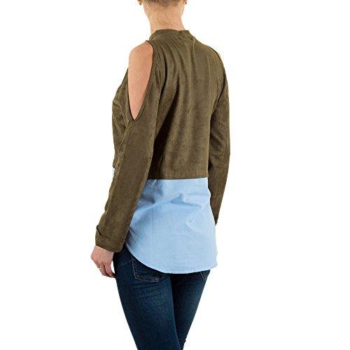 Velouroptik Off Shoulder Bluse Für Damen bei Ital-Design Khaki