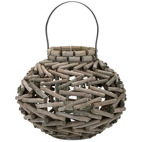 IMAX worldwide-one fonte Elegante Dimensioni Monroe lanterne in legno, colore: marrone, misura: L