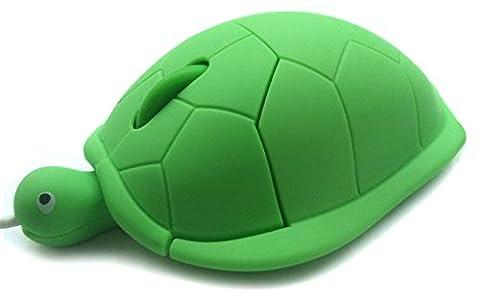DURAGADGET Mini souris optique fantaisie en forme de tortue verte