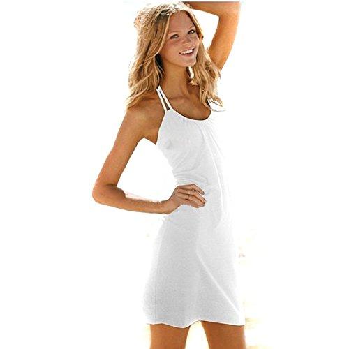 Minetome Femmes Mode Sexy Robe Sexy avec De Plage Halter Neck Combishort Blanc