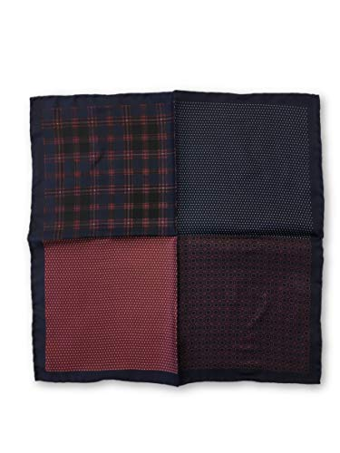 Olymp pocket square with 4 panels in navy and red patterns - ONE SIZE -