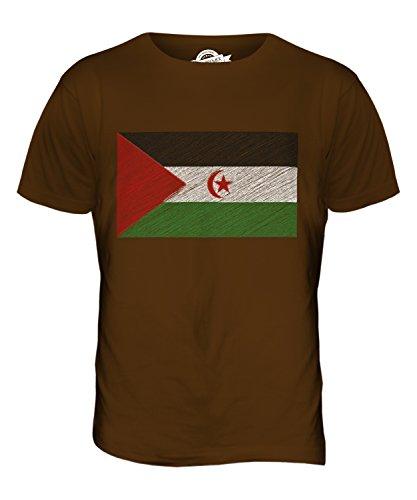 CandyMix Westsahara Kritzelte Flagge Herren T Shirt Braun