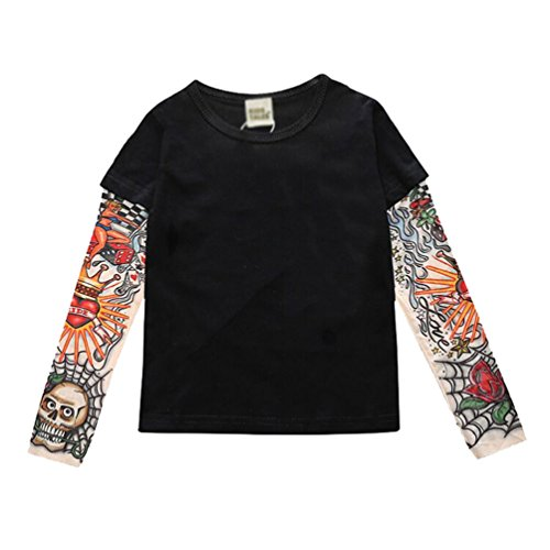 YiJee Kinder Langarm Tattoo Print T-shirt Herbst und Winter Casual Tops XL