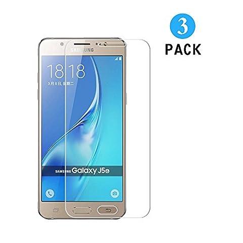 Verre Trempé Samsung Galaxy J5 2015, [3 Pack] WEOFUN Film Protection Pour Samsung Galaxy J5 2015 Protecteur d'écran (0.33mm, Ultra
