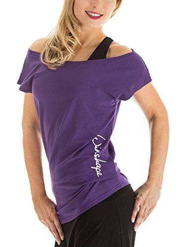 Winshape Damen Dance-Shirt WTR12 Freizeit Fitness Workout T-Shirt, violett (Dunkel-lila), L