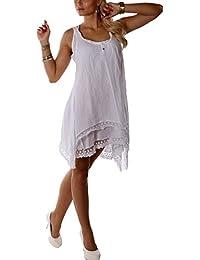 Romantisches Sommerkleid Strandkleid Spitze (Weiss)