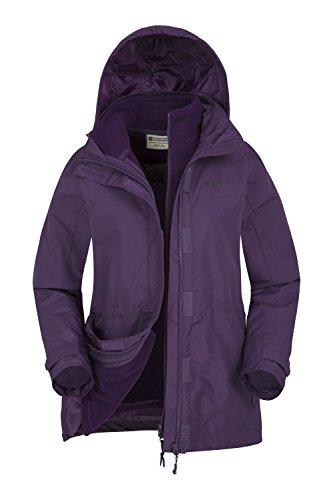 Mountain Warehouse Fell 3-in-1-Jacke für Damen - Wasserbeständiger Mantel, Damenjacke mit verstaubarer Kapuze, Reißverschlusstaschen - Idealer Regenmantel für den Winter Violett DE 44 (EU 46)