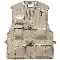 Chaleco Ochenta para hombre al aire libre, casual, con múltiples bolsillos, con capucha, para acampada, caza, pesca, fotografía, chaleco L-3XL, De carga, Hombre, color Caqui, tamaño UK L-Label XL