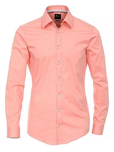 Venti Herren Businesshemd 100% Baumwolle Body Stretch Rosa