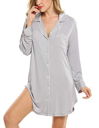 Damen Nachthemd Pyjama Negligee V-Ausschcnitt Nachtkleid Schlafshirt Langarm Modal Schlafanzüge Nachtwäsche Sleepwear Kleid, Langarm 1: Grau, XL