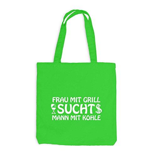 ShirtFlow Jutebeutel - Frau mit Grill sucht Mann mit Kohle, Hellgrün
