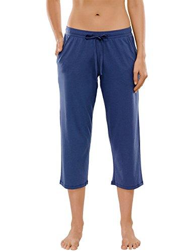 Schiesser Damen Schlafanzughose Blau (dunkelblau 803)