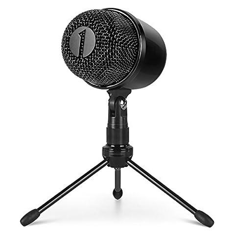1byone USB Mikrofon mit Stativ, Mute Funktion und LED Anzeige, HD Kondensatormikrofon mit Plug & Play-Funktion