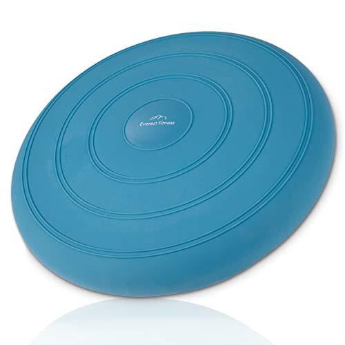 EVEREST FITNESS Luftkissen, Ballkissen, luftgefüllt, Ø 33 cm, blau, inklusive Luftpumpe - Balance-Kissen, Gleichgewichts-Kissen, Trainings-Kissen, Sitz- und Rückenkissen
