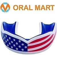 Oral Mart Protector de boca de bandera de USA para niños - colchón juvenil bandera americana deportes boquilla para bandera fútbol, Karate, (edad 12 y arriba) American