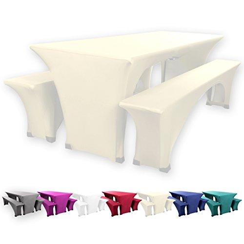 Gräfenstayn Stretch Biertischhusse Leopold 5er Set für Bierzeltgarnitur mit Sitzauflagen -70cm oder 50cm Tischbreite- Bierbankhussen (70 x 220 cm, Creme)
