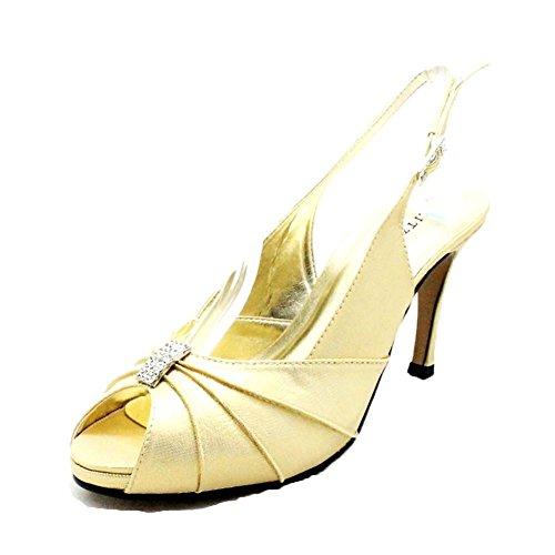 Donne tacco alto scarpe da sposa slingback con diamante increspato peep toe Shimmer Oro