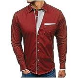 Camisa de Vestir de Manga Larga sólida Formal Delgada Formal del otoño de los Hombres Camisa Superior de la Camisa de la Solapa de la Personalidad de la Blusa de los Hombres