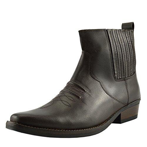 Herren Leder Cowboy-Pull-Western kubanische Ferse Smart Knöchel Stiefel EU40-47 - UK 12 / EU 46, Braun
