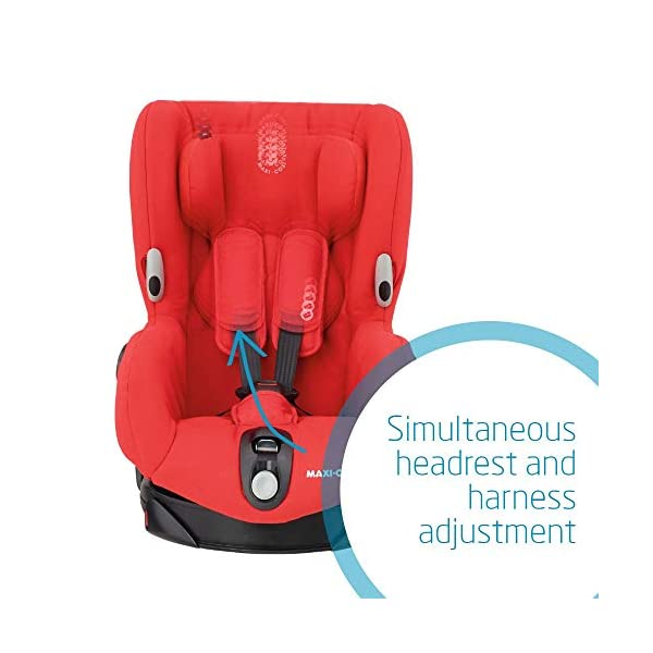 Maxi-Cosi Axiss Swiveling Toddler Car Seat, Extra Secure Fit, Reclining, 9 Months-4 Years, 9-18 kg, Nomad Red Maxi-Cosi 90 degrees swivel to secure the child and take them out more easily Simultaneous harness and headrest adjustment to perfectly fit the growing child Convenient belt hooks keeps the harness open when placing the child in the seat 5