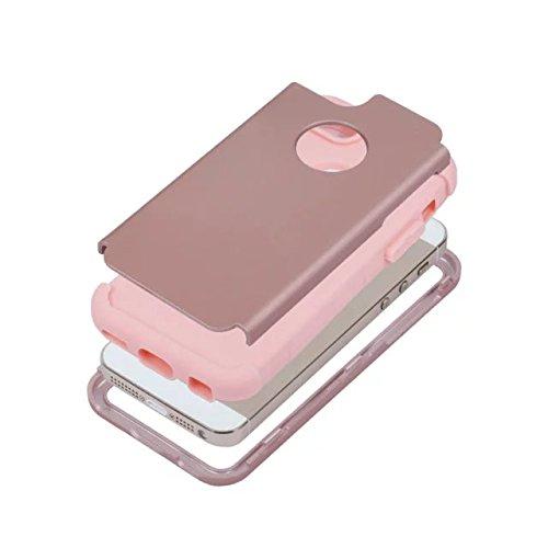 iPhone 5 5S 5C Hülle,iPhone SE Hülle,Lantier Slim Matt Matt Finish Design Shockproof Hybrid Dual Layer Defender Schutz Fall Deckung für Apple iPhone 5/5S/5C/SE Rose Gold+Rosa Rose Gold+Pink