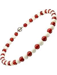 Kette Collier aus weißen & roten Korallen mit Magnet Korallenkette Halskette Damen