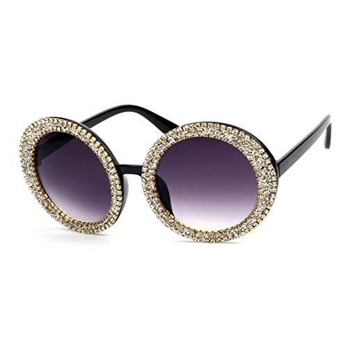TIANKON Übergroße Sonnenbrille-Frauen-runde Weinlese-Bling Stein-Sonnenbrille-Männer und Frauen-Sonnenbrille