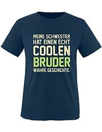 Comedy Shirts - Meine Schwester hat einen echt coolen Bruder wahre Geschichte. - Jungen T-Shirt - Rundhals, 100% Baumwolle, Top Basic Print-Shirt