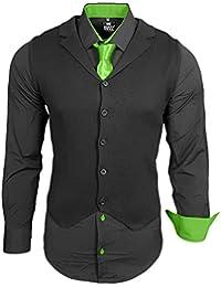 Rusty Neal Herren Hemd Weste Krawatte Set Hemden Business Hochzeit Freizeit  Slim Fit 7cc3d3f986
