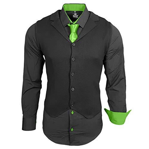 Rusty Neal Herren Hemd Weste Krawatte Set Hemden Business Hochzeit Freizeit Slim Fit, Farbe:Schwarz/Grün, Größe:5XL