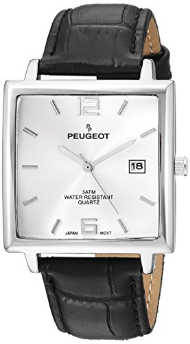 Peugeot Men's Analog-Quartz Watch with Leather Strap 2062SL