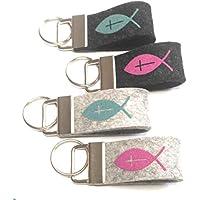 Schlüsselanhänger Fisch Kreuz personalisiertes Geschenk