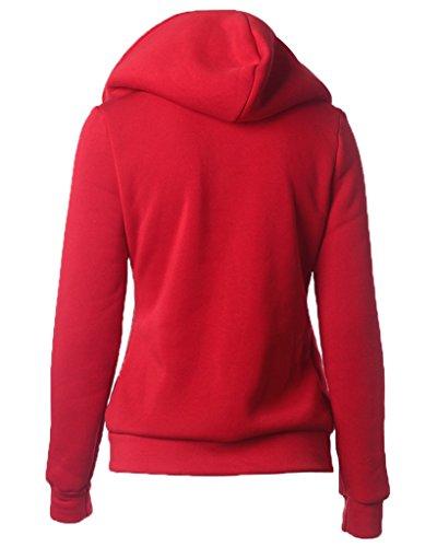 Minetom Femmes Automne Hiver Sweats À Capuche Glissière Latérale Casual Hoodie Chandail Manche Longue Manteau Rouge