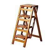 Trittleiter aus Holz Leiter aus 3/4 Stufen Blumenständer Klappleiter Multifunktions-Innen Haushalt Aufsteigen auf die Kleine Leiter (Farbe : C)