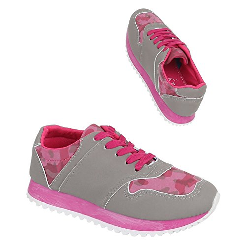 Chaussures femme, 207–1, loisirs chaussures à lacets Sneakers Rose - Pink Grau