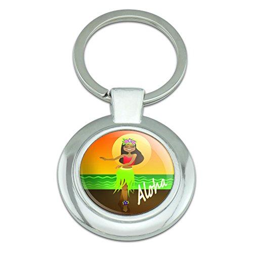 Graphics and More Aloha Hawaii Hula Tänzerin Classy Round verchromt Metall Schlüsselanhänger