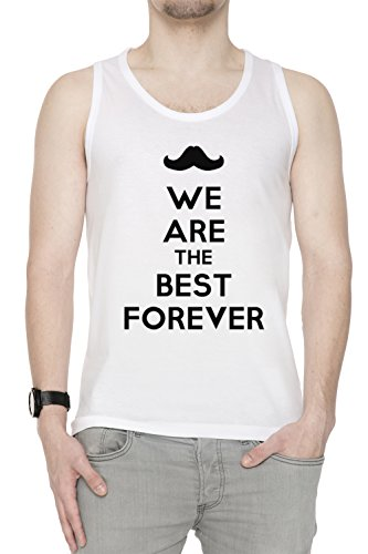 We Are The Best Forever Uomo Canotta T-shirt Bianco Cotone Girocollo White Men's Tank T-shirt