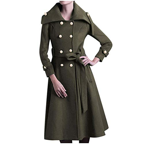 SMILEQ Womens Winter Revers Button Langer Trenchcoat Jacke Damen Mantel Outwear (Armeegrün, XL)