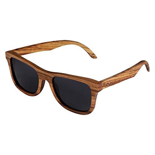 Hodalump Sonnenbrille aus Holz UV400 Braun Unisex mit Bambus Box (Schwarz)