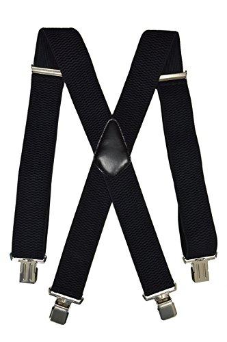 Olata Extra Lange, Extra Breite XXL Hosenträger X-Form mit 4 Starken Clips, Stark Stoff - 5cm. Schwarz