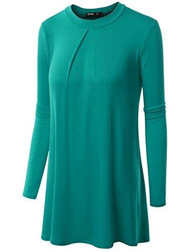 Gogofuture Casual Femme Tee Shirt Manche Longue Basique Col Rond Pullover Couleur Unie Classic Top ElÉGant Blouse Mode Fashion green