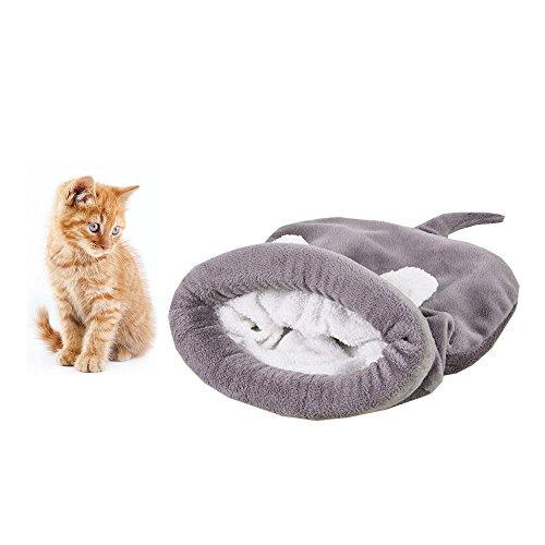 Kühl Schlaf-sack (Weiches Warmes Katze Schlafsack, Zone Pet Höhle Bett Cozy Cuddle Tasche, selbstwärmende Kitty Sack verdeckt Kapuzen Pet Höhle für Katzen und Welpen von hongyh)