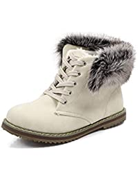 JUWOJIA Las Mujeres Botas De Nieve Plus Size Mantenga Caliente Fur Lace Up Round Toe Botines Encantadores,Beige,42