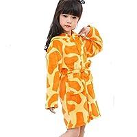 JZLPIN Toddlers Kids Flannel Robes Unicorn Hooded Bathrobe Pajamas Boys Girls Sleepwear Giraffe 120cm/5 Years