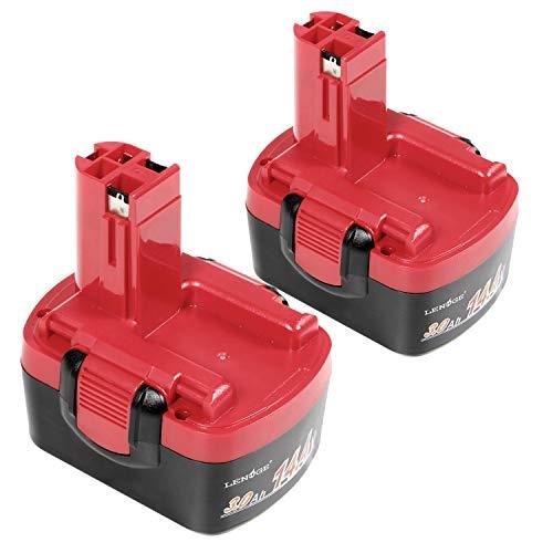 LENOGE 2-Pack Outil électrique Batterie 14.4V 3.0Ah Ni-Mh pour Bosch 2 607 335 264 2 607 335 276 2 607 335 465 2 607 335 528 2 607 335 694 2 607 335 711 BAT038 BAT040 BAT041 BAT140 BAT159