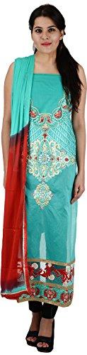 Raj Nandini Suits & Sarees Women's Chanderi Silk Semi Stitched Salwar Suit Set(RajNandini05 _ P