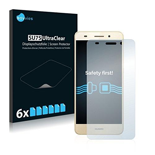 6x Savvies SU75 UltraClear Displayschutz Schutzfolie für Huawei Y6 II (ultraklar, einfach anzubringen)