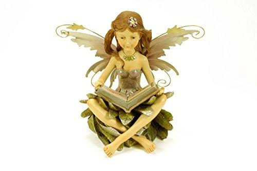 Figura Decorativa Jardín ' Hada con Libro Luz Solar'. Figuras Resina.32 x 21 x 26 cm.