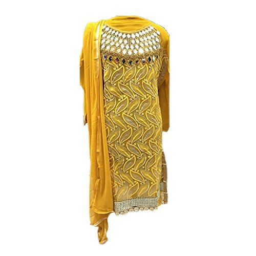Ethnic Empire Women\'s Georgette Anarkali Salwar Suit Set (Ethnic01_Er10716_Yellow_Free Size)